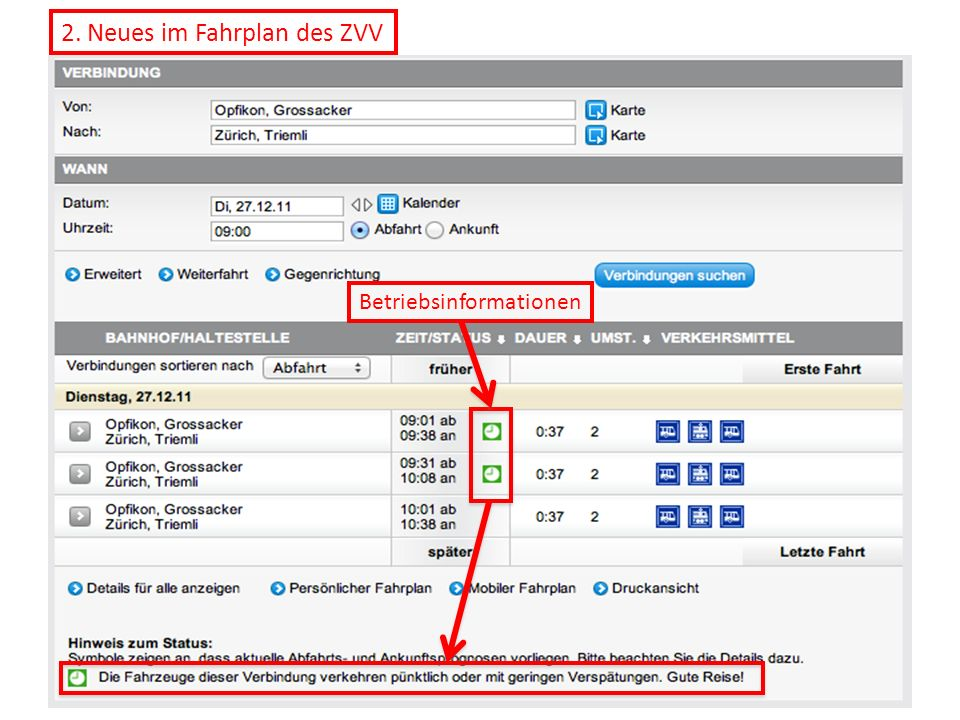 2. Neues im Fahrplan des ZVV Betriebsinformationen