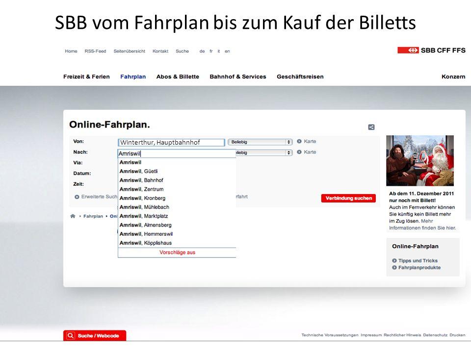 SBB vom Fahrplan bis zum Kauf der Billetts Winterthur, Hauptbahnhof