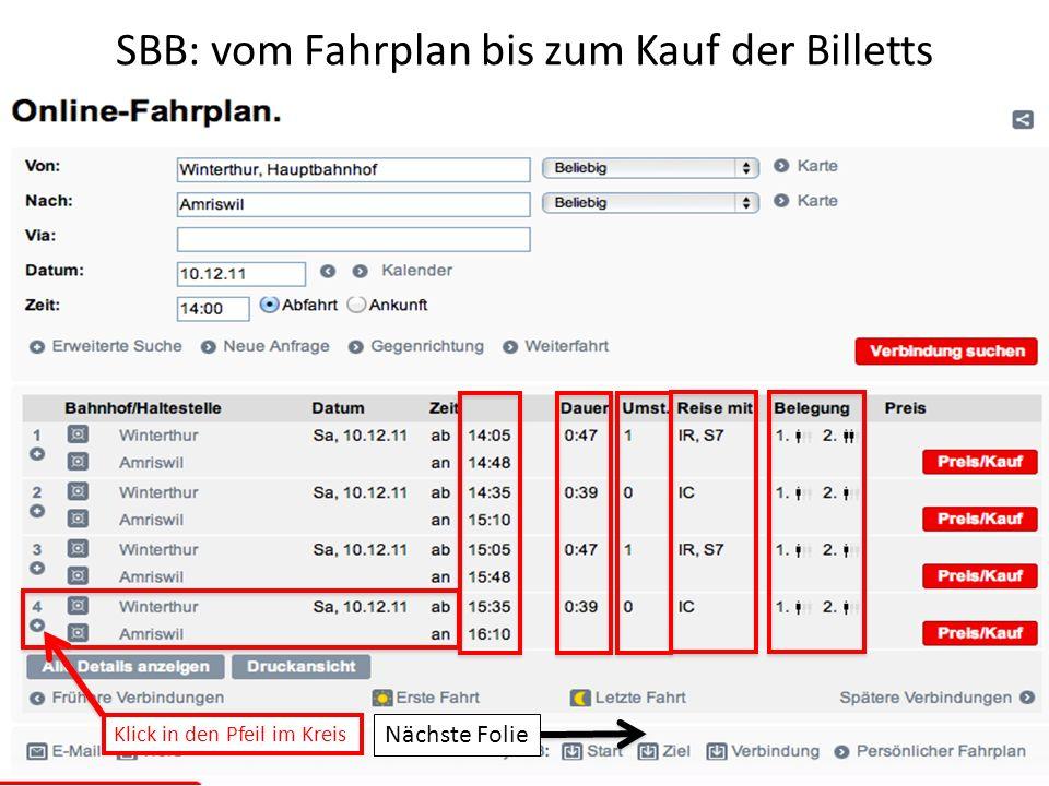 SBB: vom Fahrplan bis zum Kauf der Billetts Klick in den Pfeil im Kreis Nächste Folie