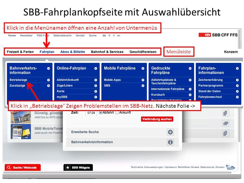 SBB-Fahrplankopfseite mit Auswahlübersicht Klick in die Menünamen öffnen eine Anzahl von Untermenüs Klick in Betriebslage Zeigen Problemstellen im SBB