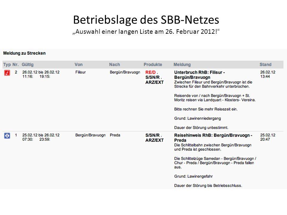 Betriebslage des SBB-Netzes Auswahl einer langen Liste am 26. Februar 2012!