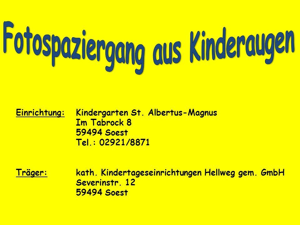 Einrichtung:Kindergarten St. Albertus-Magnus Im Tabrock 8 59494 Soest Tel.: 02921/8871 Träger:kath. Kindertageseinrichtungen Hellweg gem. GmbH Severin