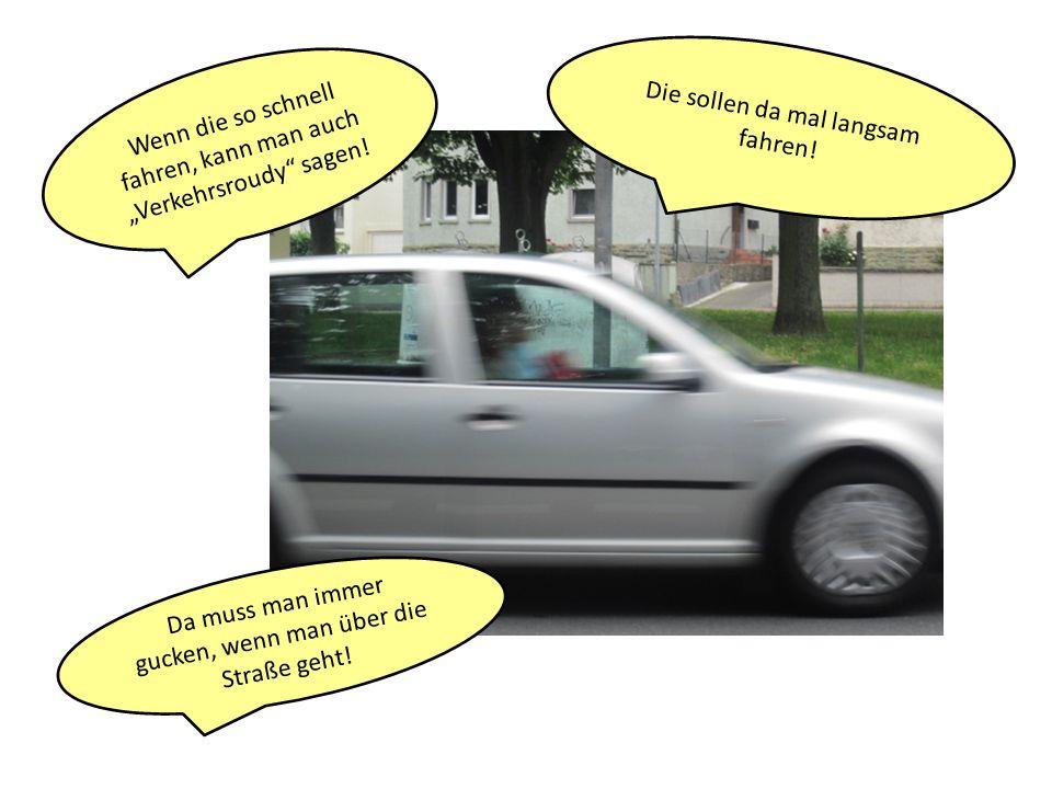 Die sollen da mal langsam fahren! Wenn die so schnell fahren, kann man auch Verkehrsroudy sagen! Da muss man immer gucken, wenn man über die Straße ge