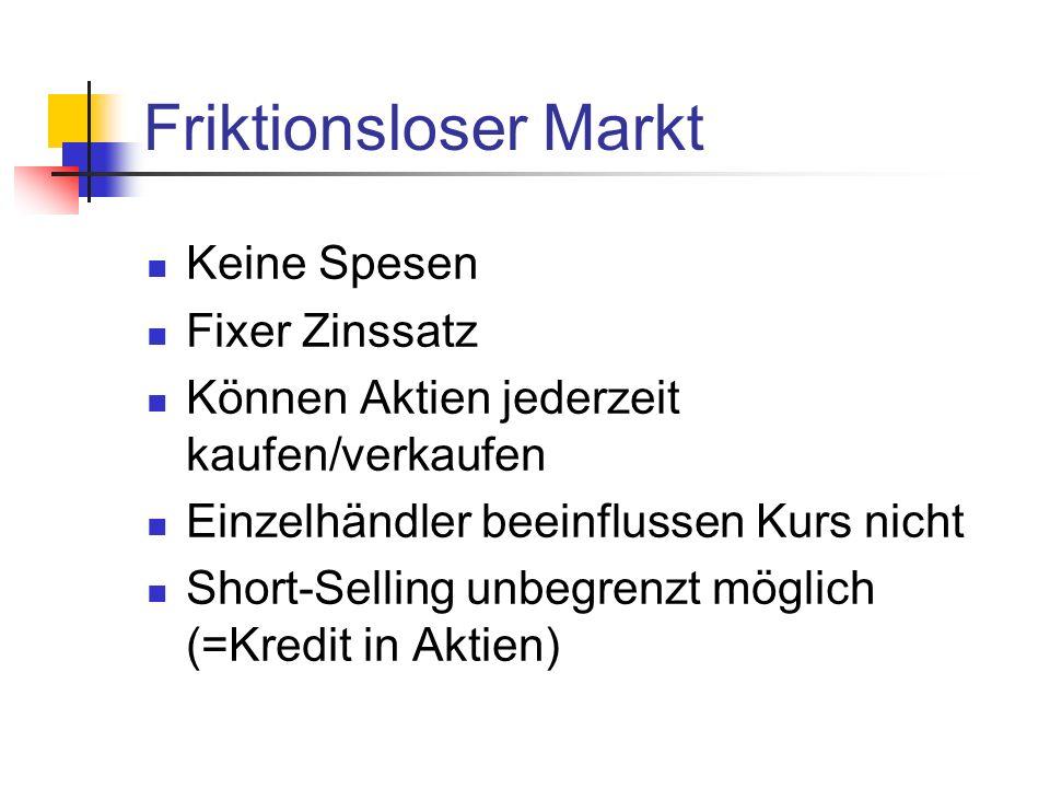 Friktionsloser Markt Keine Spesen Fixer Zinssatz Können Aktien jederzeit kaufen/verkaufen Einzelhändler beeinflussen Kurs nicht Short-Selling unbegren