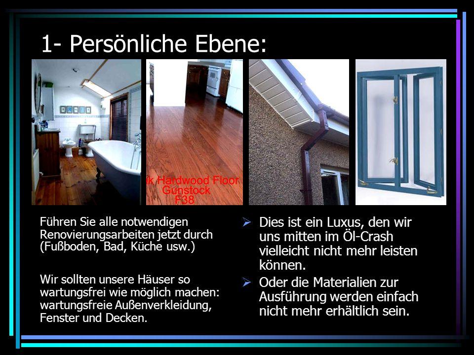 1- Persönliche Ebene: Führen Sie alle notwendigen Renovierungsarbeiten jetzt durch (Fußboden, Bad, Küche usw.) Wir sollten unsere Häuser so wartungsfrei wie möglich machen: wartungsfreie Außenverkleidung, Fenster und Decken.