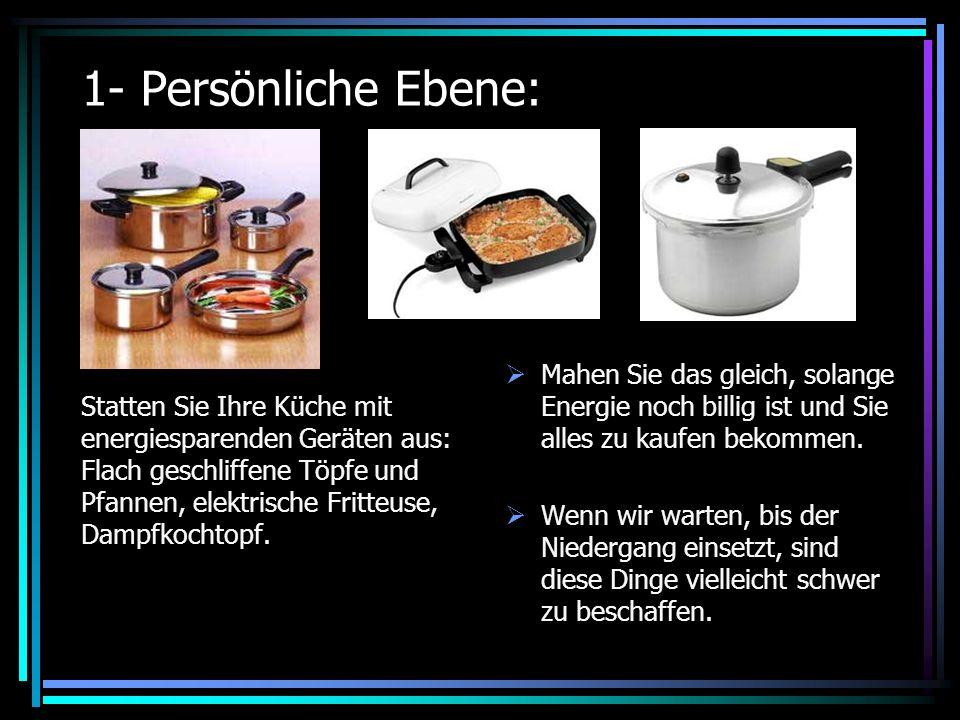 1- Persönliche Ebene: Statten Sie Ihre Küche mit energiesparenden Geräten aus: Flach geschliffene Töpfe und Pfannen, elektrische Fritteuse, Dampfkochtopf.