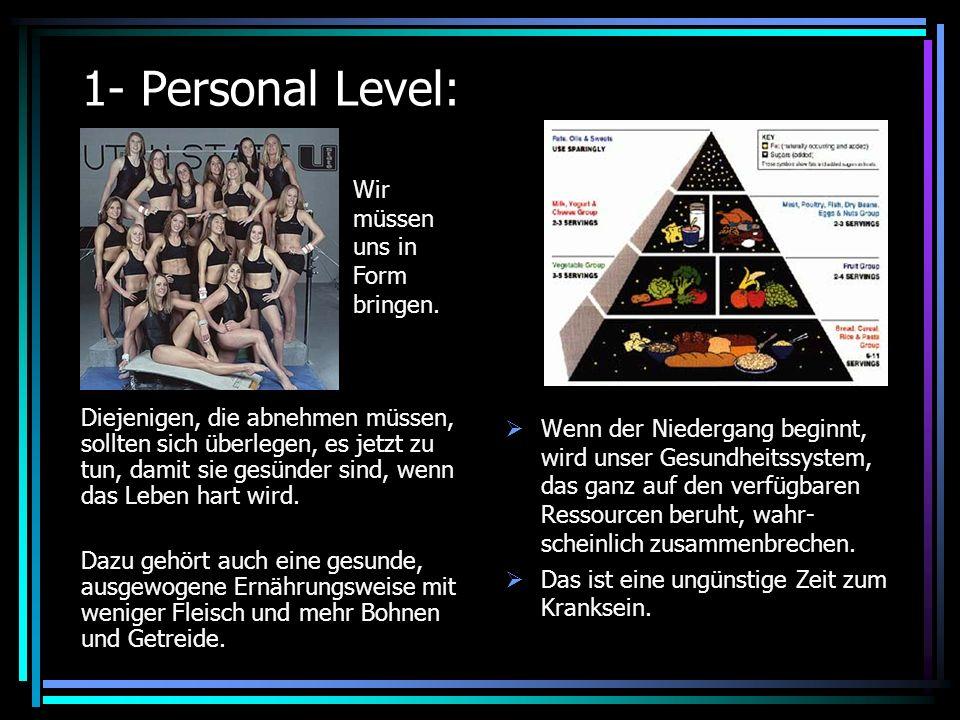 1- Personal Level: Diejenigen, die abnehmen müssen, sollten sich überlegen, es jetzt zu tun, damit sie gesünder sind, wenn das Leben hart wird.