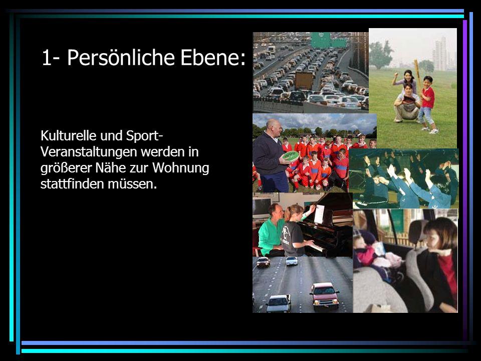 1- Persönliche Ebene: Kulturelle und Sport- Veranstaltungen werden in größerer Nähe zur Wohnung stattfinden müssen.