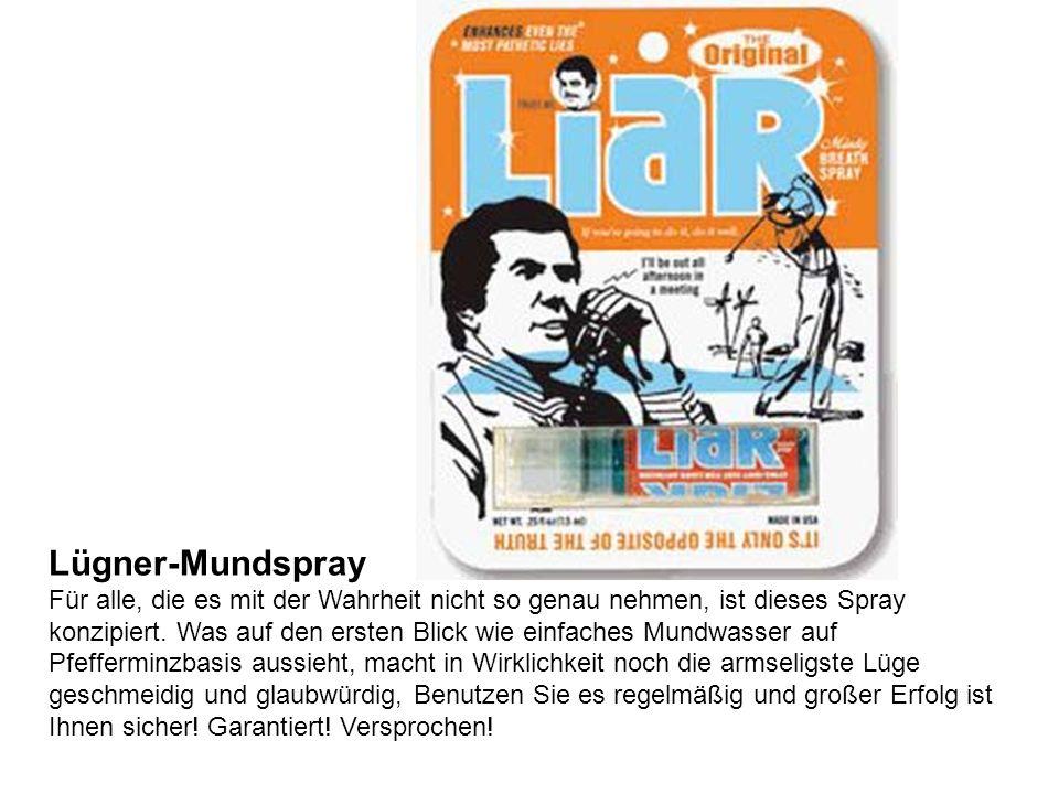Lügner-Mundspray Für alle, die es mit der Wahrheit nicht so genau nehmen, ist dieses Spray konzipiert.