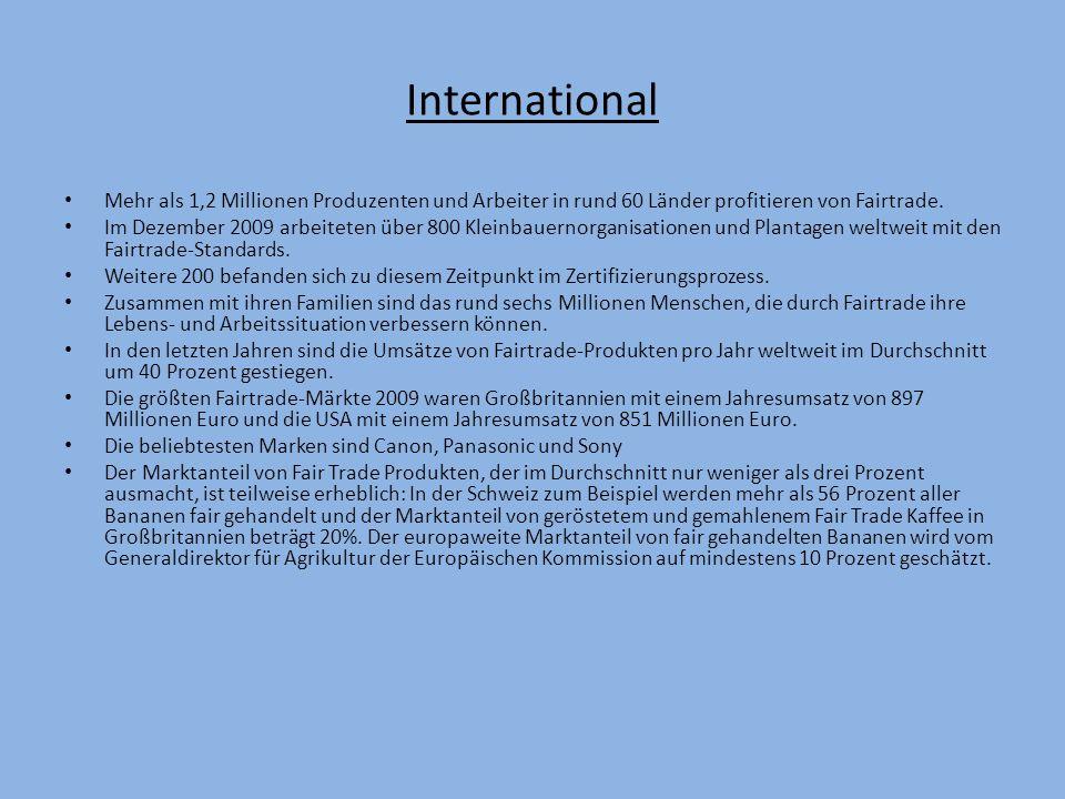 Deutschland ein Entwicklungsland Im Gegensatz zu anderen Ländern ist der verbrauch/Absatz für Fairtrade Produkte gering.