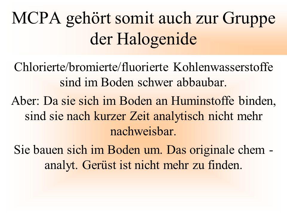 MCPA gehört somit auch zur Gruppe der Halogenide Chlorierte/bromierte/fluorierte Kohlenwasserstoffe sind im Boden schwer abbaubar. Aber: Da sie sich i