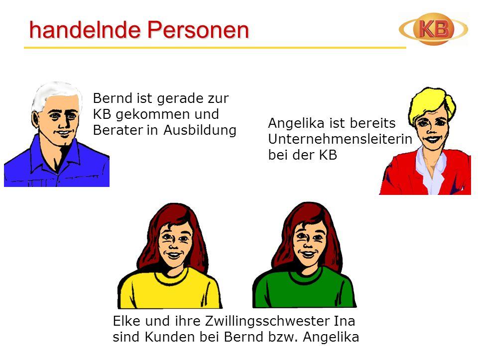 handelnde Personen handelnde Personen Elke und ihre Zwillingsschwester Ina sind Kunden bei Bernd bzw. Angelika Angelika ist bereits Unternehmensleiter