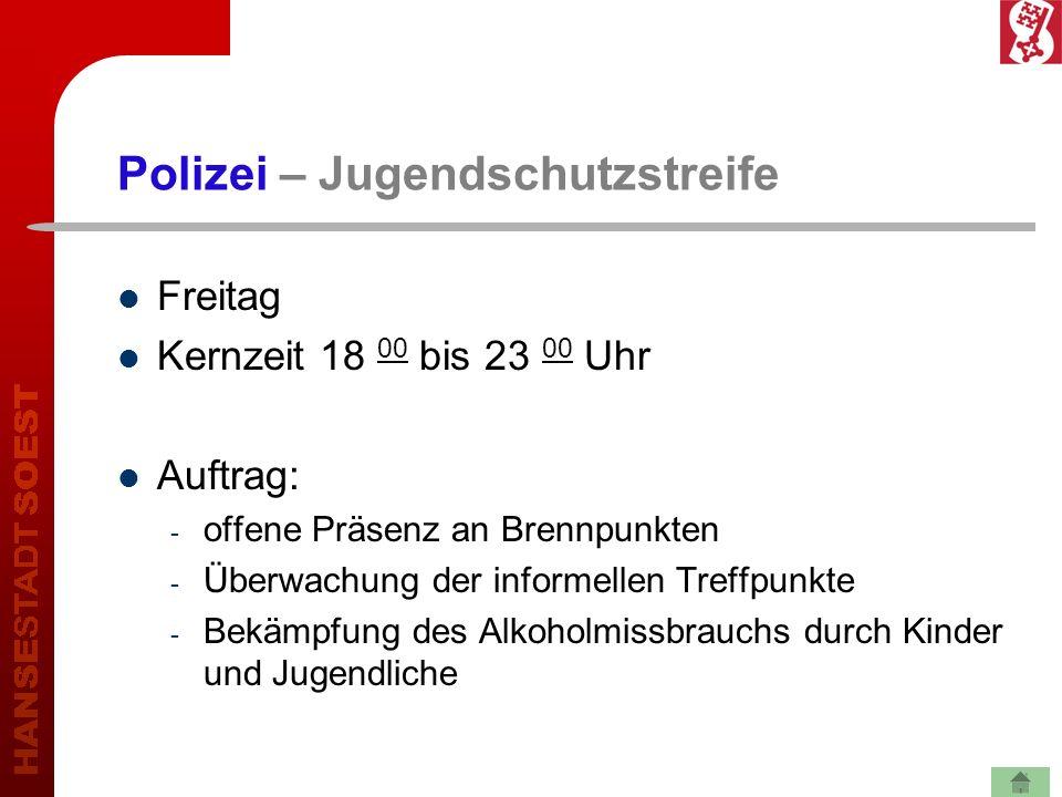 Polizei – Jugendschutzstreife Freitag Kernzeit 18 00 bis 23 00 Uhr Auftrag: - offene Präsenz an Brennpunkten - Überwachung der informellen Treffpunkte