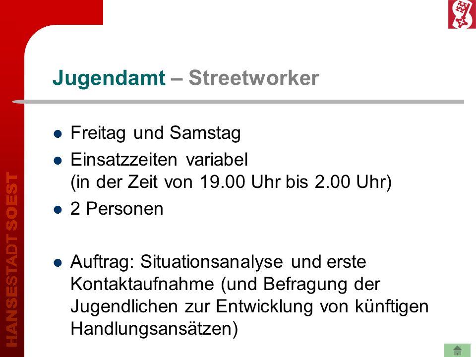 Jugendamt – Streetworker Freitag und Samstag Einsatzzeiten variabel (in der Zeit von 19.00 Uhr bis 2.00 Uhr) 2 Personen Auftrag: Situationsanalyse und