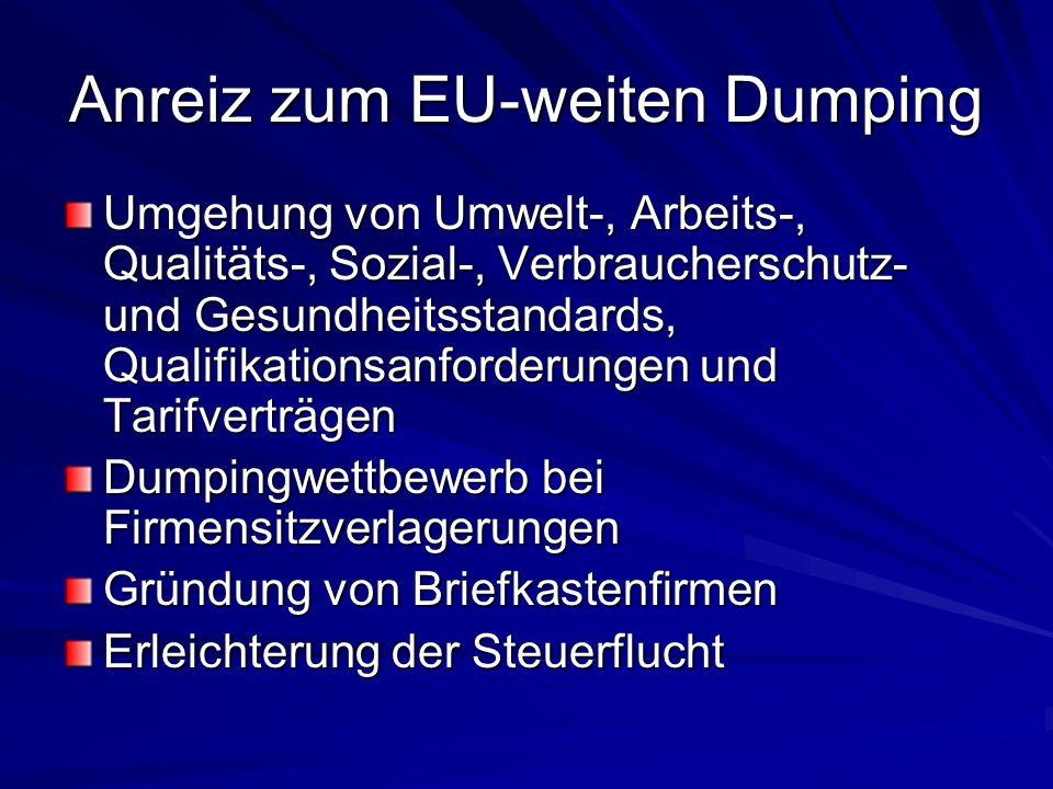 Anreiz zum EU-weiten Dumping Umgehung von Umwelt-, Arbeits-, Qualitäts-, Sozial-, Verbraucherschutz- und Gesundheitsstandards, Qualifikationsanforderungen und Tarifverträgen Dumpingwettbewerb bei Firmensitzverlagerungen Gründung von Briefkastenfirmen Erleichterung der Steuerflucht