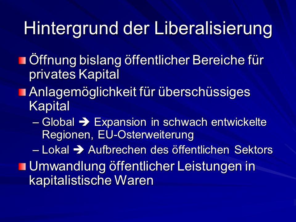 Hintergrund der Liberalisierung Öffnung bislang öffentlicher Bereiche für privates Kapital Anlagemöglichkeit für überschüssiges Kapital –Global Expansion in schwach entwickelte Regionen, EU-Osterweiterung –Lokal Aufbrechen des öffentlichen Sektors Umwandlung öffentlicher Leistungen in kapitalistische Waren