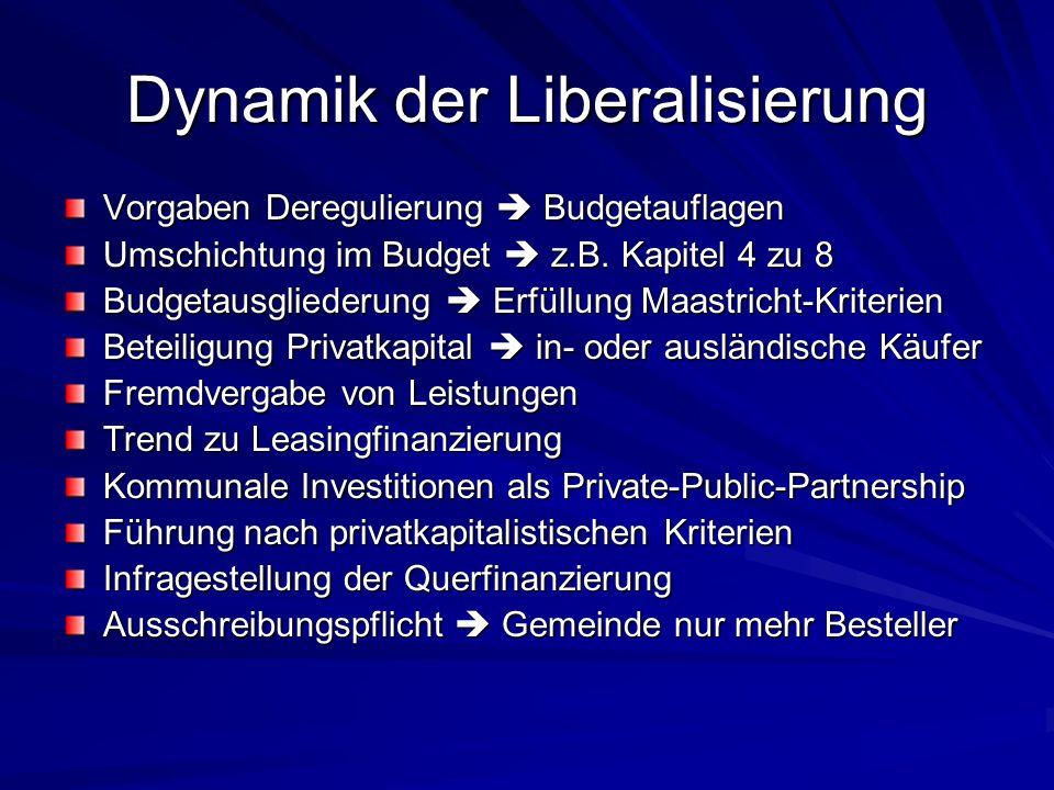 Dynamik der Liberalisierung Vorgaben Deregulierung Budgetauflagen Umschichtung im Budget z.B. Kapitel 4 zu 8 Budgetausgliederung Erfüllung Maastricht-