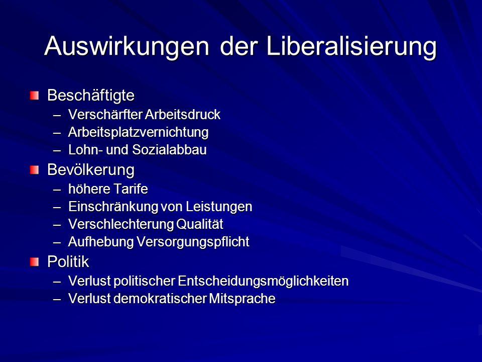 Auswirkungen der Liberalisierung Beschäftigte –Verschärfter Arbeitsdruck –Arbeitsplatzvernichtung –Lohn- und Sozialabbau Bevölkerung –höhere Tarife –E
