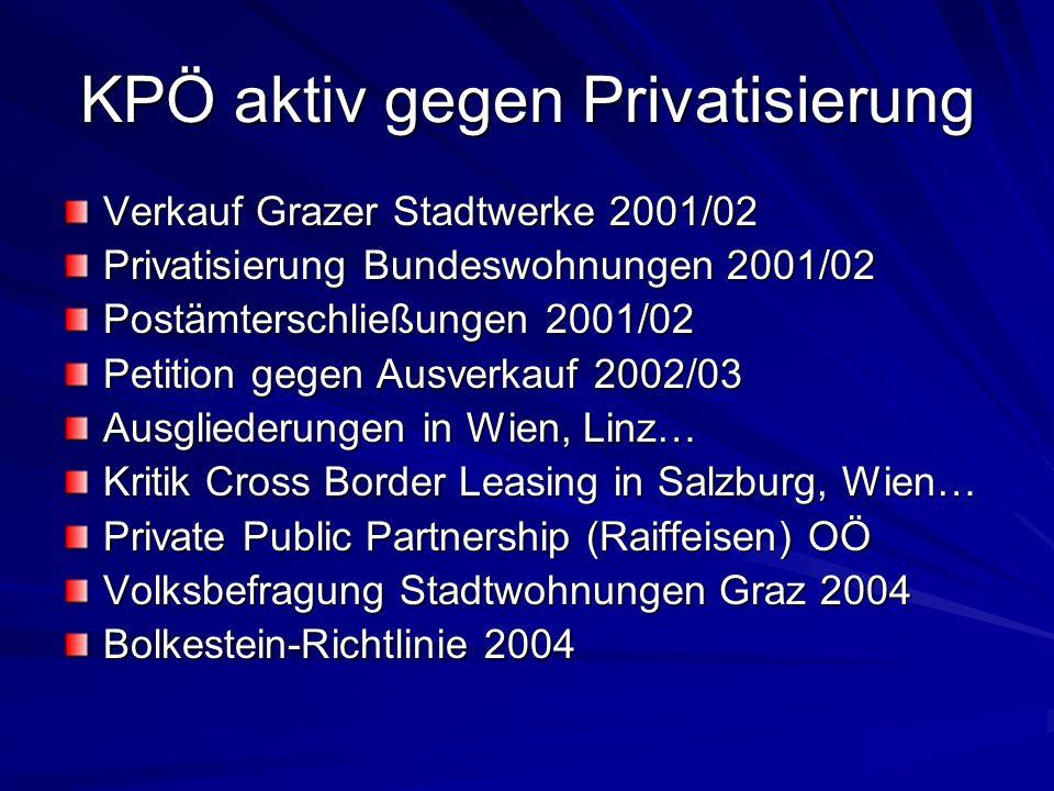 KPÖ aktiv gegen Privatisierung Verkauf Grazer Stadtwerke 2001/02 Privatisierung Bundeswohnungen 2001/02 Postämterschließungen 2001/02 Petition gegen A