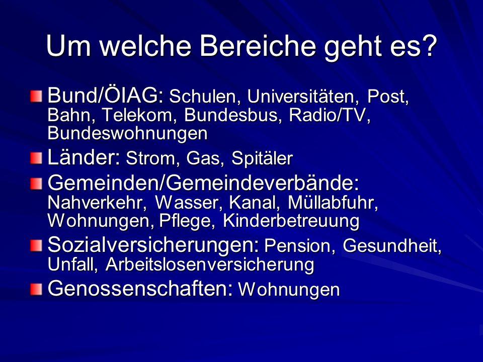 Um welche Bereiche geht es? Bund/ÖIAG: Schulen, Universitäten, Post, Bahn, Telekom, Bundesbus, Radio/TV, Bundeswohnungen Länder: Strom, Gas, Spitäler