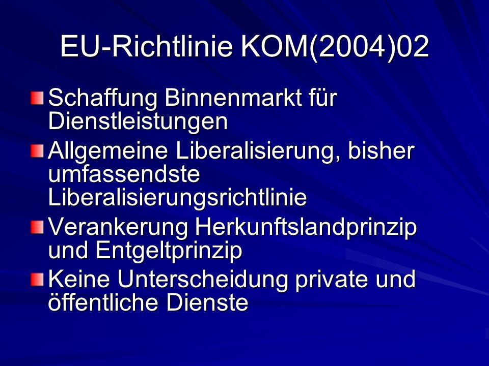 EU-Richtlinie KOM(2004)02 Schaffung Binnenmarkt für Dienstleistungen Allgemeine Liberalisierung, bisher umfassendste Liberalisierungsrichtlinie Verankerung Herkunftslandprinzip und Entgeltprinzip Keine Unterscheidung private und öffentliche Dienste