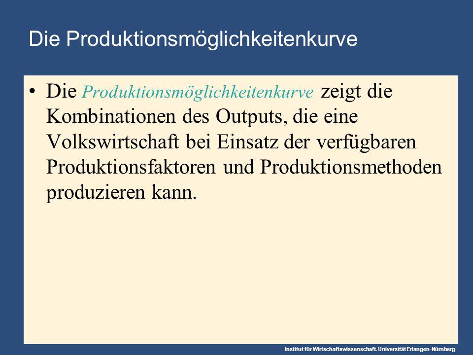 Abbildung 2: Die Produktionsmöglichkeitenkurve Produktions- möglichkeiten- kurve A B C Produktions- menge an PKW 2,200 600 1,000 300 0 700 2,000 3,000 1,000 Produktions- menge an PC D