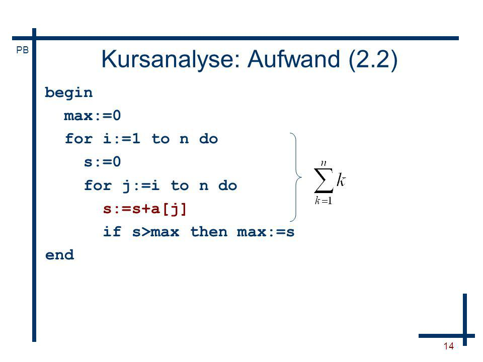 PB 14 Kursanalyse: Aufwand (2.2) begin max:=0 for i:=1 to n do s:=0 for j:=i to n do s:=s+a[j] if s>max then max:=s end