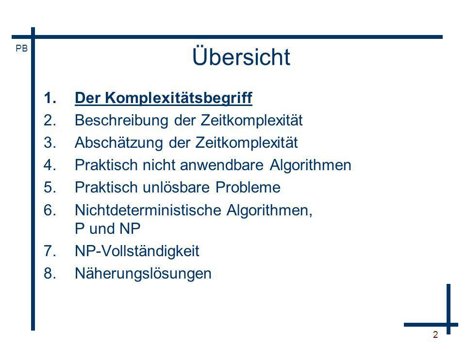 PB 53 Beispiel: Königsberger Brückenproblem Gibt es einen Rundweg, bei dem jede der sieben Brücken genau einmal benutzt wird?