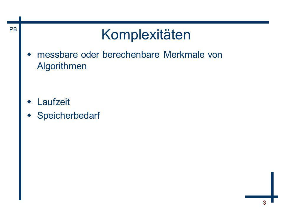 PB 24 Typische Komplexitäten k(n) n 10100100010 4 10 5 10 6 logarithmisch linear log-linear quadratisch kubisch exponentiell