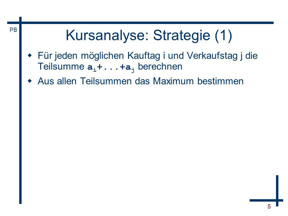 PB 6 Kursanalyse: Algorithmus (1) begin max:=0 for i:=1 to n do for j:=i to n do s:=0 for k:=i to j do s:=s+a[k] if s>max then max:=s end
