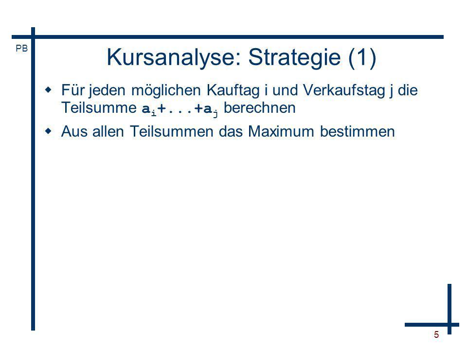 PB 16 Kursanalyse: Strategie (3) Für jeden möglichen Kauftag i und Verkaufstag j die Teilsumme a i +...+a j berechnen Aus allen Teilsummen das Maximum bestimmen Nicht jede Teilsumme muss einzeln bestimmt werden.