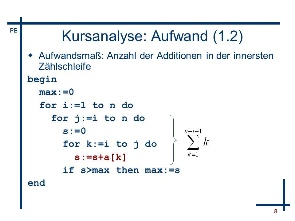 PB 8 Kursanalyse: Aufwand (1.2) Aufwandsmaß: Anzahl der Additionen in der innersten Zählschleife begin max:=0 for i:=1 to n do for j:=i to n do s:=0 f