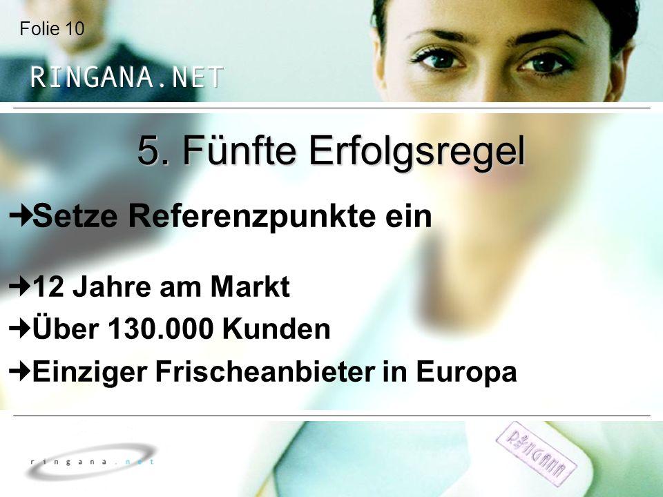 Folie 10 5. Fünfte Erfolgsregel Setze Referenzpunkte ein 12 Jahre am Markt Über 130.000 Kunden Einziger Frischeanbieter in Europa