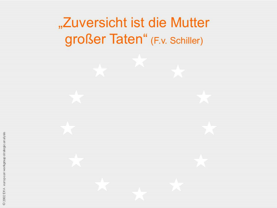 © 2002 EKA european workgroup strategic analysis Zuversicht ist die Mutter großer Taten (F.v.