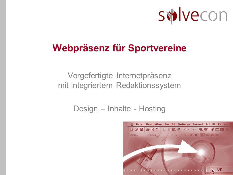 Webpräsenz für Sportvereine Vorgefertigte Internetpräsenz mit integriertem Redaktionssystem Design – Inhalte - Hosting