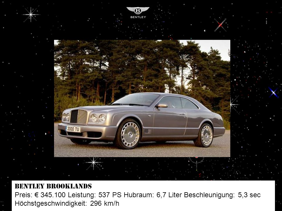 Mercedes SL 65 AMG Black Series Preis: 327.250 Leistung: 670 PS Hubraum: 6 Liter Beschleunigung: 3,9 sec Höchstgeschwindigkeit: 329 km/h
