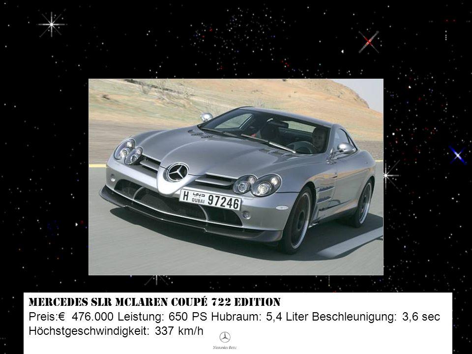 SSC Ultimate Aero TT Preis: 455.000 Leistung: 1.183 PS Hubraum: 6,3 Liter Beschleunigung: 2,8 sec Höchstgeschwindigkeit: 434 km/h