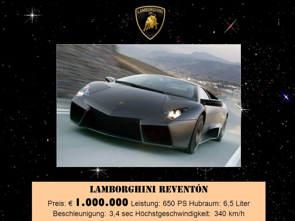 Pagani Zonda Roadster F Preis: 650.000 Leistung: 650 PS Hubraum: 7,3 Liter Beschleunigung: 3,6 sec Höchstgeschwindigkeit: 345 km/h