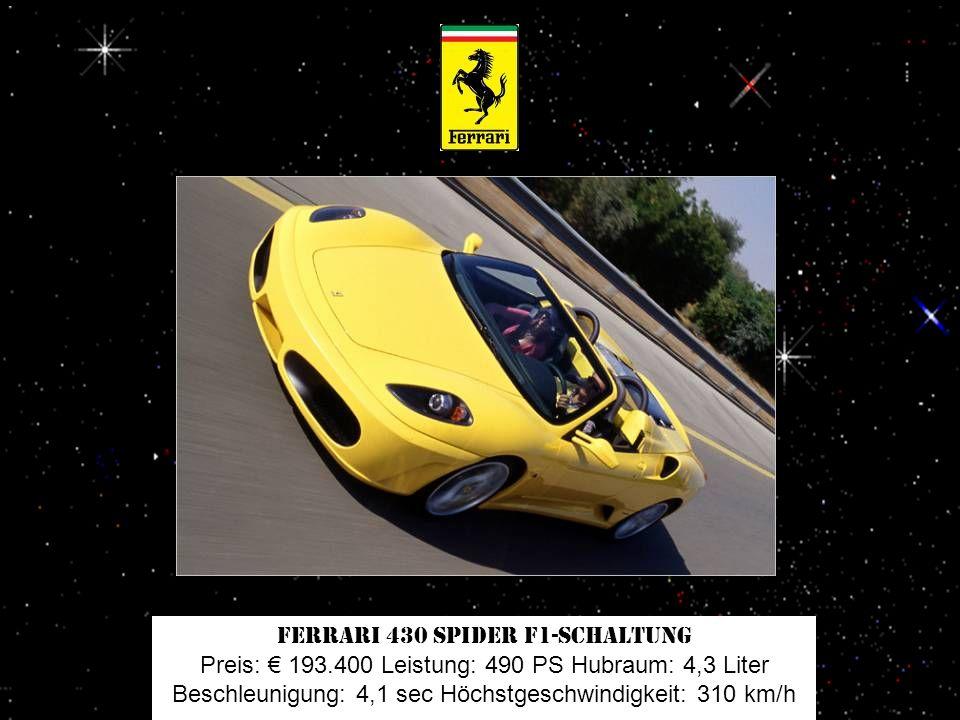 Lamborghini Gallardo LP 560-4 Spyder Preis: 191.495 Leistung: 560 PS Hubraum: 5,2 Liter Beschleunigung: 4 sec Höchstgeschwindigkeit: 325 km/h
