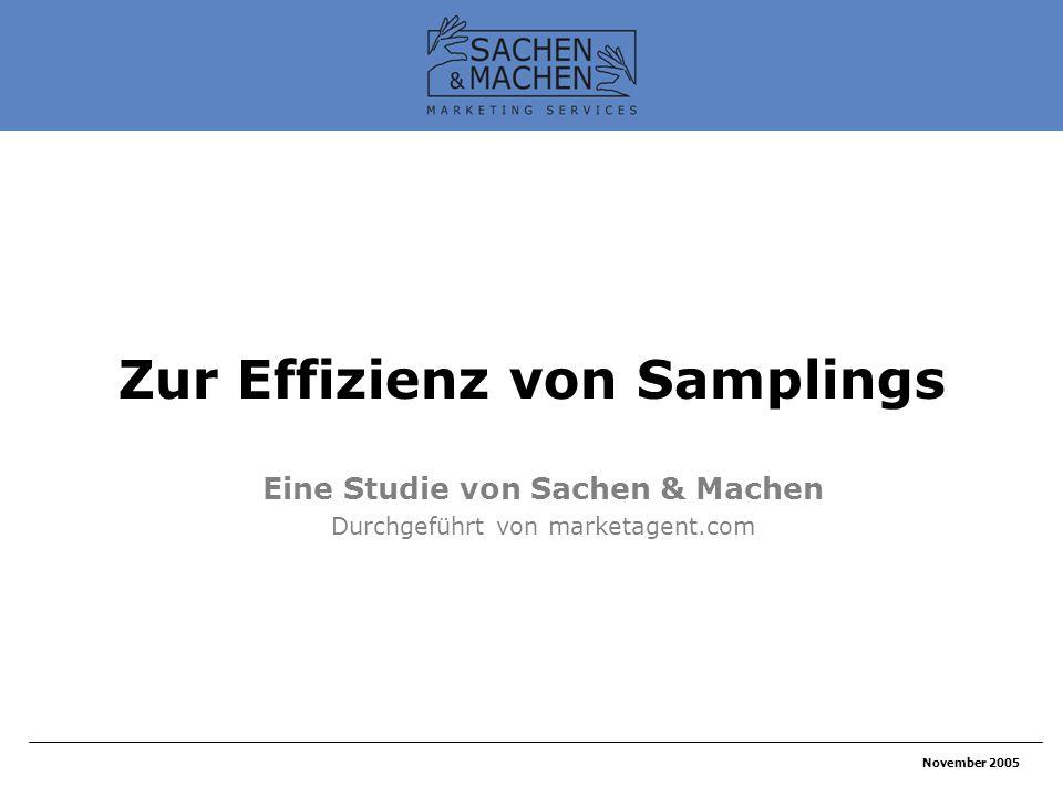 November 2005 Zur Effizienz von Samplings Eine Studie von Sachen & Machen Durchgeführt von marketagent.com
