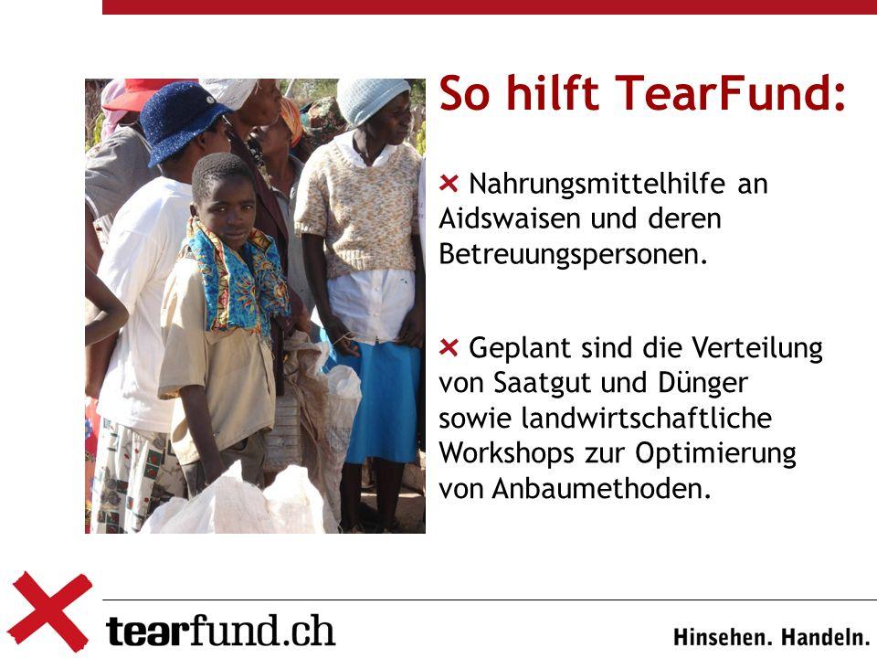 So hilft TearFund: Nahrungsmittelhilfe an Aidswaisen und deren Betreuungspersonen. blabla Geplant sind die Verteilung von Saatgut und Dünger sowie lan