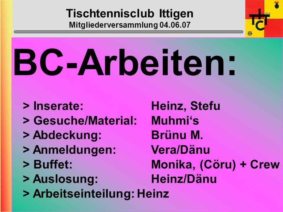 Tischtennisclub Ittigen Mitgliederversammlung 04.06.07 Wahl der übrigen Ämter Revisoren: Webmaster: Nachwuchs: Top-Spin: Bowling: Beat Franz + Max-Pet