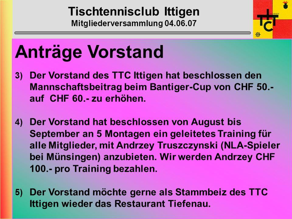 Tischtennisclub Ittigen Mitgliederversammlung 04.06.07 Anträge Vorstand 1) Der Vorstand des TTC Ittigen ist der Meinung, dass es an der Zeit wäre, ein