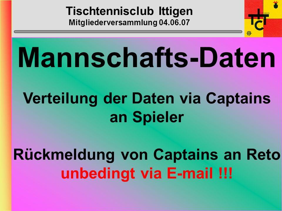 Tischtennisclub Ittigen Mitgliederversammlung 04.06.07 Anträge Vorstand 3) Der Vorstand des TTC Ittigen hat beschlossen den Mannschaftsbeitrag beim Bantiger-Cup von CHF 50.- auf CHF 60.- zu erhöhen.