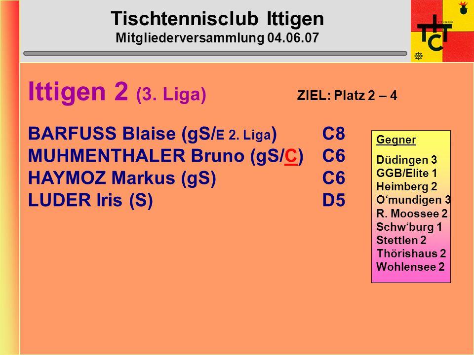 Tischtennisclub Ittigen Mitgliederversammlung 04.06.07 Ittigen 1 (2. Liga) ZIEL: Mittelfeldplatz BAZZI Vera (gS)B14 BAZZI Reto (gS/C)C8 ULRICH Corinne