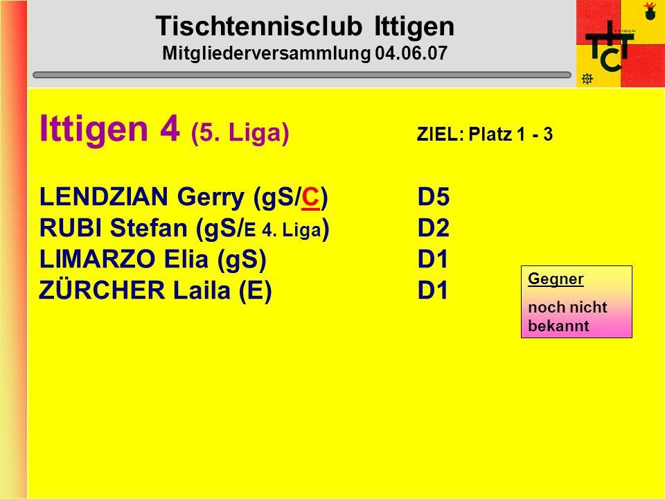 Tischtennisclub Ittigen Mitgliederversammlung 04.06.07 Ittigen 3 (4. Liga) ZIEL: Platz 2 - 4 LUDER Daniel (gS/ E 2. Liga )C8 MENZEL Max-Peter (gS / E