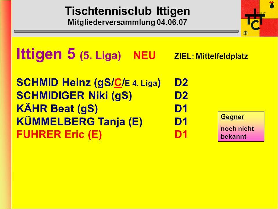 Tischtennisclub Ittigen Mitgliederversammlung 04.06.07 Ittigen 4 (5. Liga) ZIEL: Platz 1 - 3 LENDZIAN Gerry (gS/C)D5 RUBI Stefan (gS/ E 4. Liga )D2 LI