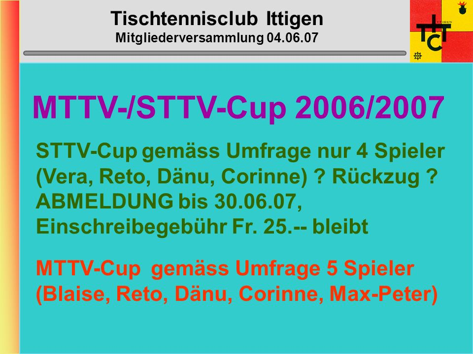 Tischtennisclub Ittigen Mitgliederversammlung 04.06.07 Ittigen 5 (5. Liga) NEU ZIEL: Mittelfeldplatz SCHMID Heinz (gS/C/ E 4. Liga )D2 SCHMIDIGER Niki