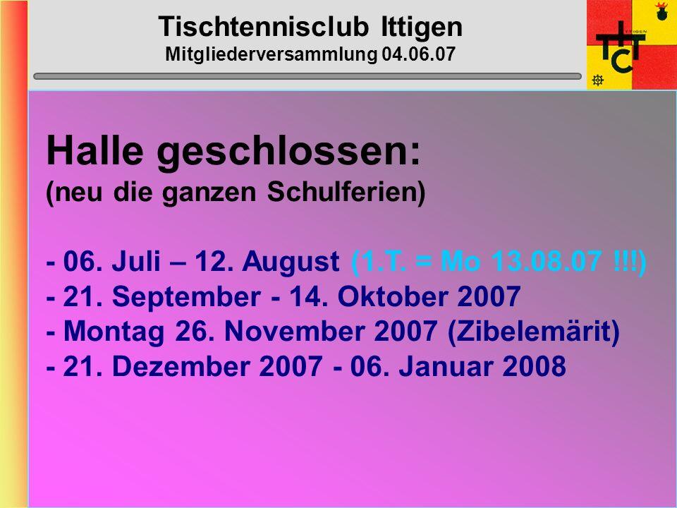 Tischtennisclub Ittigen Mitgliederversammlung 04.06.07 MTTV-/STTV-Cup 2006/2007 STTV-Cup gemäss Umfrage nur 4 Spieler (Vera, Reto, Dänu, Corinne) ? Rü