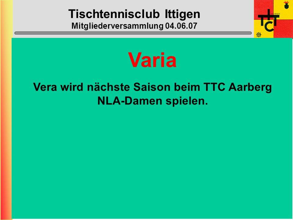 Tischtennisclub Ittigen Mitgliederversammlung 04.06.07 Halle geschlossen: (neu die ganzen Schulferien) - 06. Juli – 12. August (1.T. = Mo 13.08.07 !!!